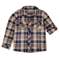 Chemise à carreaux avec manches rétractables