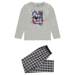 Junior - Pyjama avec haut en jersey et bas en flanelle à carreaux