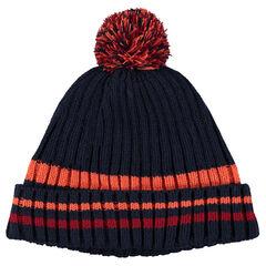 Bonnet en tricot doublé polaire avec pompon