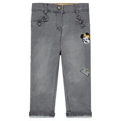 Jeans slim en maille avec broderies Disney Minnie