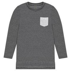 Junior - Tee-shirt manches longues coupe longue avec poche