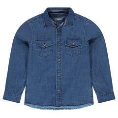 Chemise en jeans avec poches finition franges