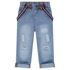 Jeans loose effet used à bretelles amovibles