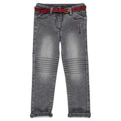 Pantalon slim en molleton effet jeans avec ceinture en daim