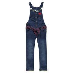 Salopette longue en jeans à ceinture amovible et broderie Disney Minnie