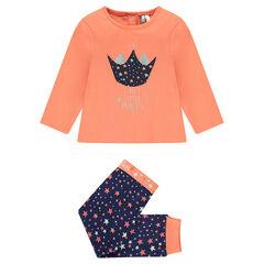 Pyjama long en coton print et imprimé étoiles