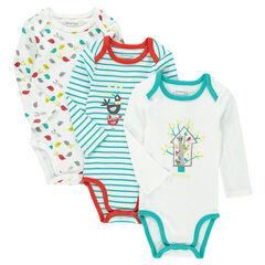Lot de 3 bodies fantaisie avec ouverture adaptée à l'âge