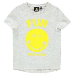 Tee-shirt manches courtes en jersey chiné print ©Smiley