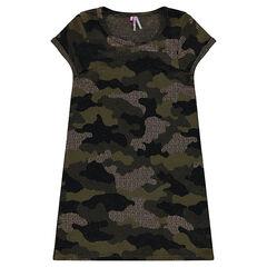 Junior - Robe en maille jacquard pailletée camouflage