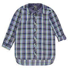 Chemise manches longues forme liquette à carreaux