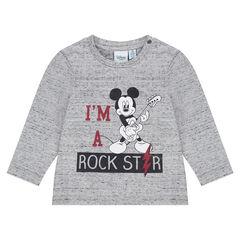 Tee-shirt manches longues en jersey neps Disney print Mickey