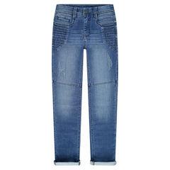 Junior - Jeans en molleton effet used avec jeu de découpes
