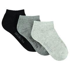 Lot de 3 paires de chaussettes courtes unies