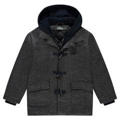 Junior - Duffle coat à chevrons avec capuche amovible
