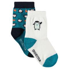 Lot de 2 paires de chaussettes assorties motif pingouins