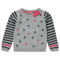 Pull en tricot et fils métalliques avec jeu d'imprimés et noeud fantaisie