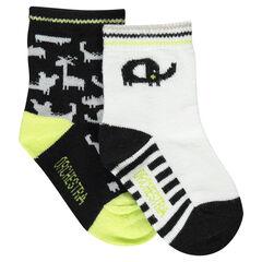 Lot de 2 paires de chaussettes assorties motif animaux