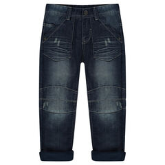 Jeans effet used doublé micropolaire