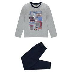 Pyjama en jersey avec haut imprimé et bas en coton piqué