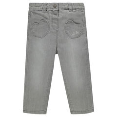 Jeans à taille élastiquée et poches