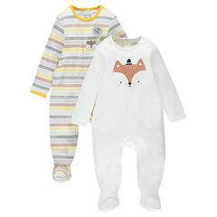 Lot de 2 dors-bien en jersey rayé/uni avec print renard