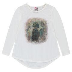 Tee-shirt en jersey fantaisie avec print effet brillant