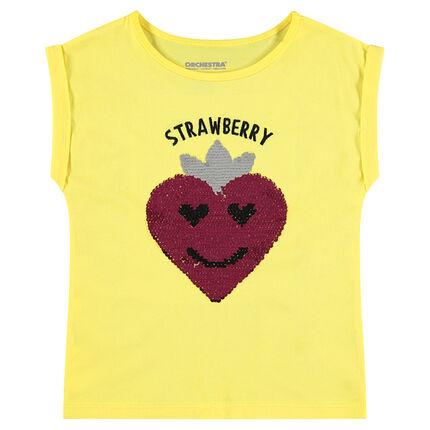 Tee-shirt manches courtes jaune avec fraise en sequins magiques
