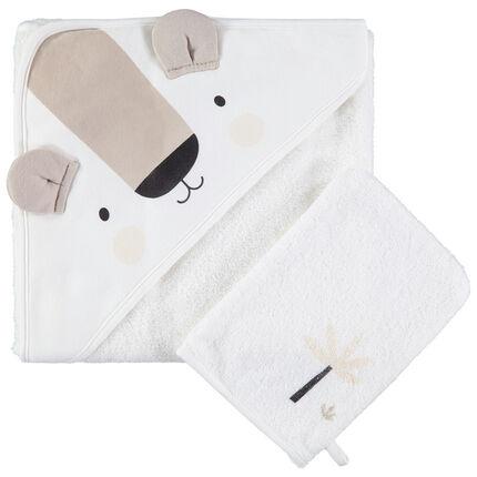 Set de bain en coton bio avec cape koala et gant assorti en éponge