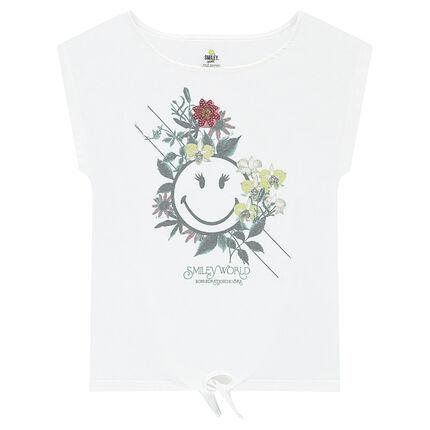 Tee-shirt manches courtes à nouer avec print ©Smiley