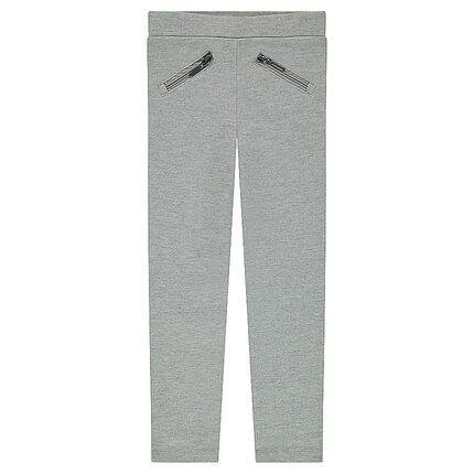 Junior - Jegging en milano uni avec poches zippées et bandes côtés