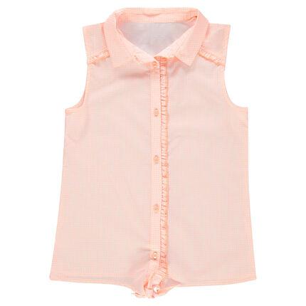 Junior - Chemise manches courtes à nouer avec carreaux vichy