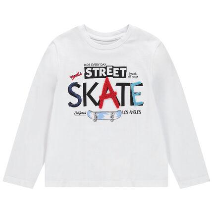 T-shirt manches longues en coton avec inscriptions colorées en relief
