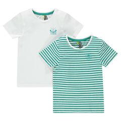 Junior - Lot de 2 tee-shirts manches courtes uni/rayé