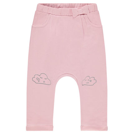 Pantalon de jogging en molleton uni avec nuage printé sur les genoux
