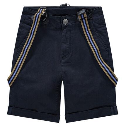 Junior - Short en coton à bretelles rayées amovibles