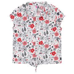 Chemise manches courtes avec fleurs contrastées