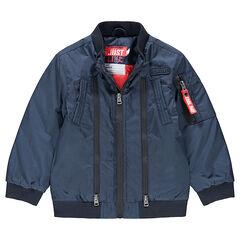 Junior - Teddy bleu uni avec doublure imprimée et poche zippée