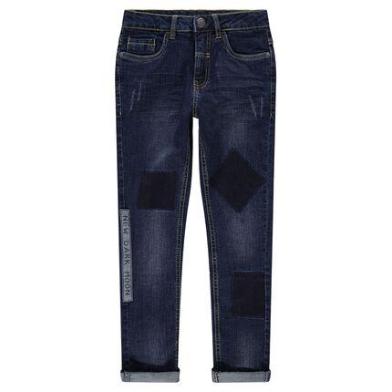 Junior - Jeans effet used avec patchs et insciption printée