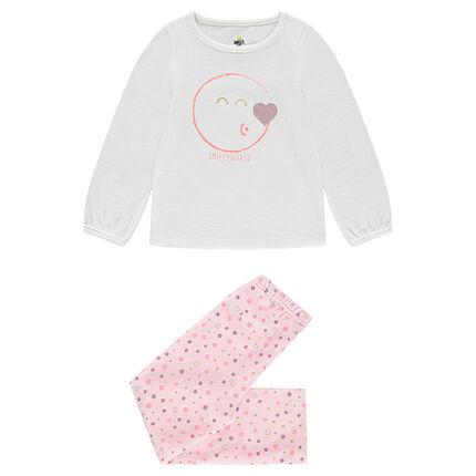 Pyjama en velours avec print Smiley