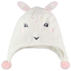 Bonnet à oreilles de lapin et pompons doublé jersey