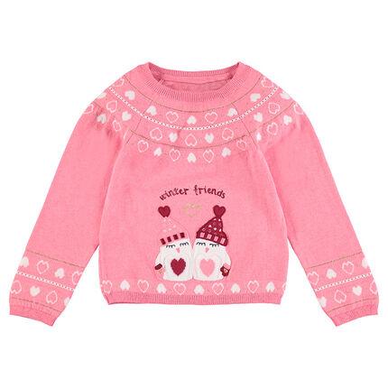 Pull de Noël en tricot avec coeurs en jacquard et pingouins brodés