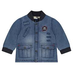 Veste en jeans effet used avec poches et doublure flanelle
