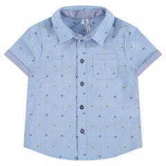 Chemise manches courtes avec petit motif en jacquard all-over