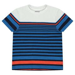 Tee-shirt manches courtes en jersey avec rayures fantaisie