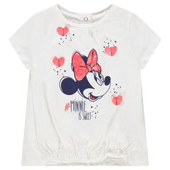 Tee-shirt manches courtes en jersey avec Minnie ©Disney printée et coeurs en relief