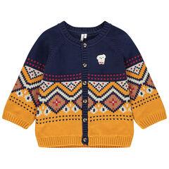 Veste en tricot doublée jersey à motif jacquard all-over