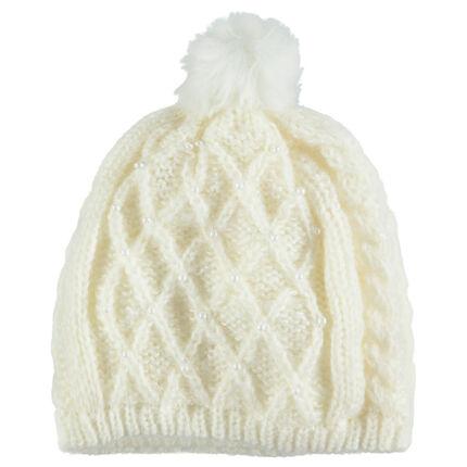 Bonnet en tricot torsadé avec pompon doublé jersey