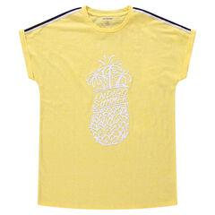 Junior - Tee-shirt manches courtes en jersey avec ananas printé et bandes appliquées