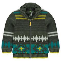 Gilet en tricot motif jacquard doublé sherpa
