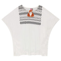 Junior - Tunique kimono avec print ethnique et pompon